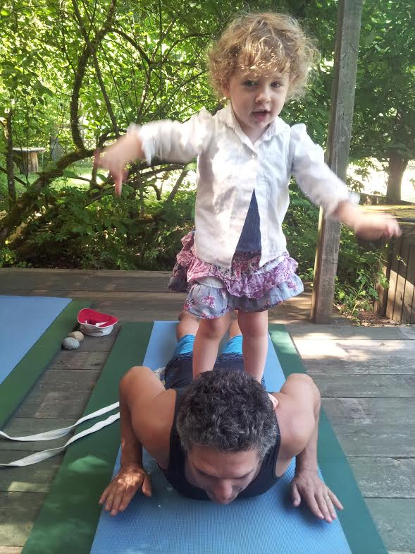 Are you finding Cobra pose is not challenging enough?   Try it with a toddler on your back!